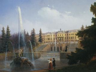 обои Иван АЙВАЗОВСКИЙ (1817-1900). Вид на Большой каскад в Петергофе. Холст,   масло фото