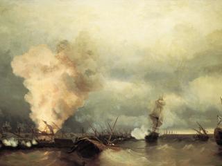 обои Иван АЙВАЗОВСКИЙ (1817-1900). Морское сражение при Выборге 29 июня 1790 года. 1846. Холст,   масло фото