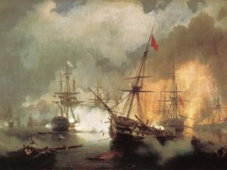 обои Иван АЙВАЗОВСКИЙ (1817-1900). Морское сражение при Наварине 2 октября 1827 года. 1846. Холст,   мас фото