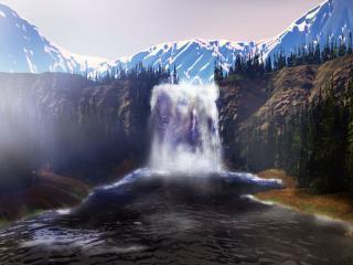 обои Горный водопад фото