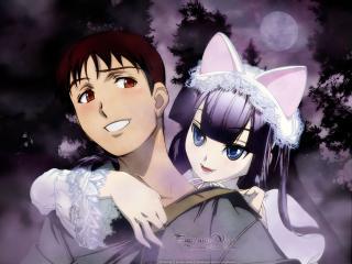 обои Moon Phase - Девушка-кошка и парень фото