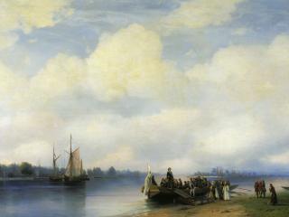 обои Иван АЙВАЗОВСКИЙ (1817-1900). Приезд Петра I на Неву. Холст,   масло фото