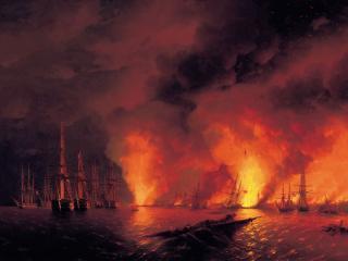 обои Иван АЙВАЗОВСКИЙ (1817-1900). Синопский бой 18 ноября 1853 года (ночь после боя). 1853. Холст,   ма фото