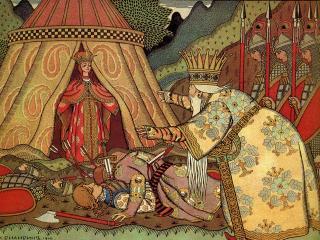 обои Царь Дадон перед Шамаханской царицей фото
