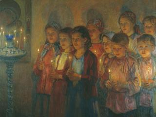 обои Николай БОГДАНОВ-БЕЛЬСКИЙ (1868-1945). В церкви. Холст,   масло фото