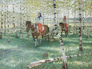 обои Николай БОГДАНОВ-БЕЛЬСКИЙ (1868 — 1945). На работу. 1921 фото