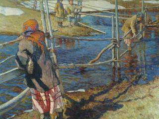 обои Николай БОГДАНОВ-БЕЛЬСКИЙ (1868 — 1945). Переправа,   холст,   масло фото