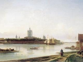 обои Вид Смольного монастыря с Большой Охты. 1870-е фото