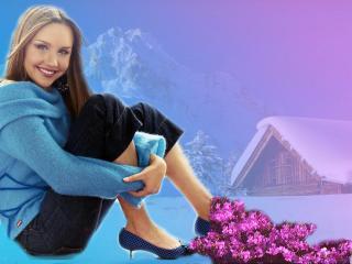 обои для рабочего стола: Девушка на снегу