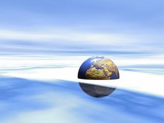 обои Земля на половину в прозрачном тумане фото