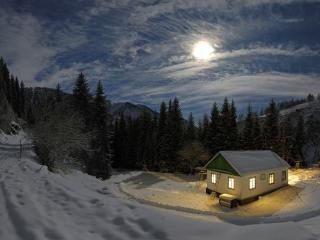 обои Зимний ночной пейзаж на окраине села фото