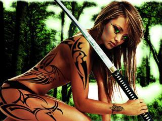 обои Тила Текила с самурайским мечом фото