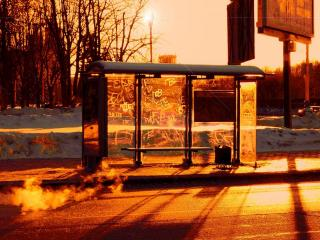 обои Автобусная остановка на рассвете фото