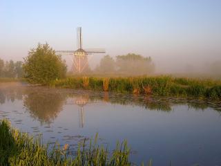 обои Лето, мельница и пруд фото