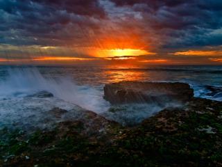обои Камни,   море и закат фото