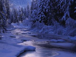 обои Снежная река фото