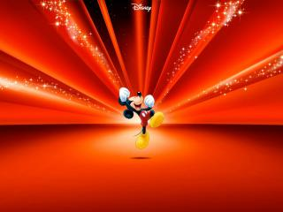 обои Микки Маус на красном фоне фото