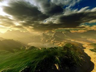 обои Горный архипелаг над темными тучами фото