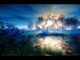 обои Рассвет у тихого озера фото
