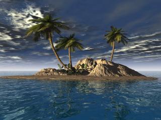 обои Три пальмы на островке в океане фото