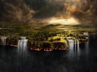 обои Тёмное небо и водопады фото
