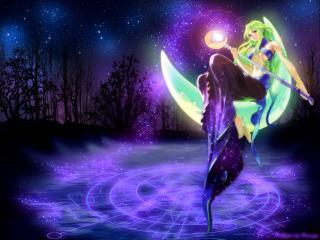 обои Добрая и очень красивая фея на луне фото
