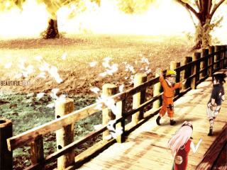обои для рабочего стола: Наруто,   Сакура,   Саске на мосту