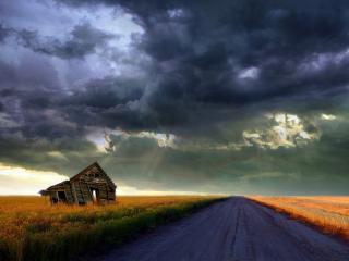 обои Дом у дороги фото