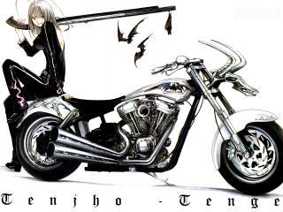 обои Девушка в черном на мотоцикле фото