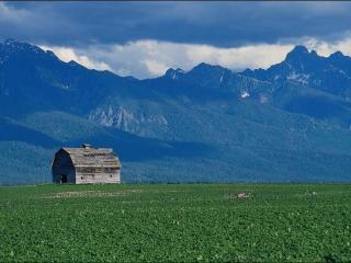 обои Заброшенный дом в горах фото