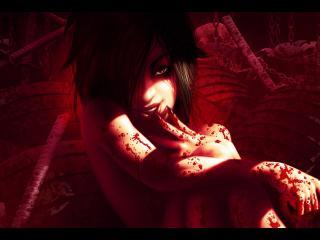 обои Очаровательная вампирша с черными волосами фото