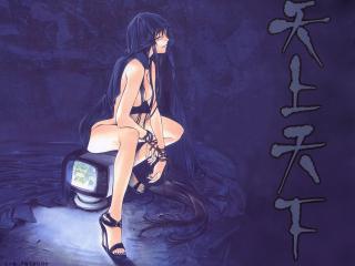 обои Айя Натсуми сидя на телевизоре фото