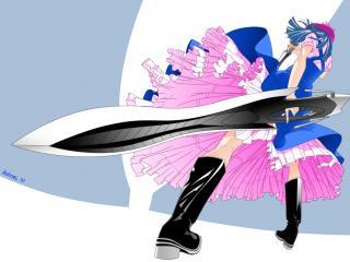 обои Девушка с большим тяжелым мечем фото