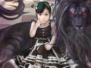 обои Азиатская девочка и чудовище фото
