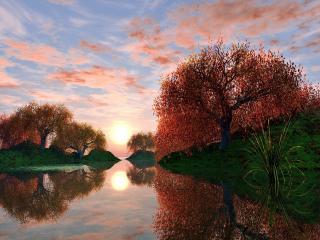 обои Тихий водоем в осенный период фото