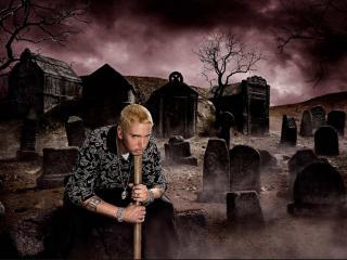обои Eminem с битой на кладбище фото
