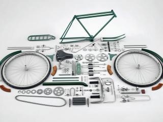обои Велосипед разобранный до винтика фото