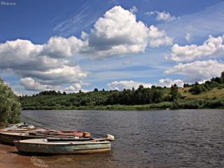 обои Пейзаж с лодками фото