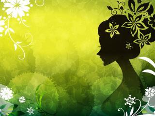 обои Силуэт девушки на цветочном фоне фото
