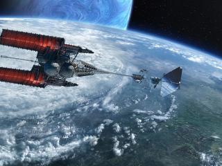 обои Космический корабль над планетой фото