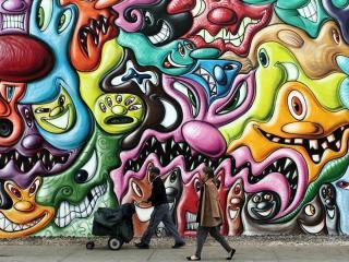 обои Граффити Кенни Шарфа в Нью-Йорке фото