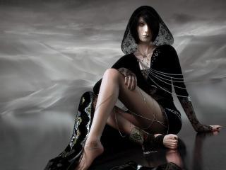 обои Циганка в черном шолковом платье фото