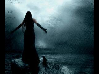 обои Девушка под пролевным дождем фото