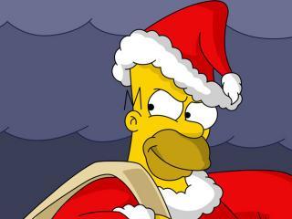 обои Гомер Симпсон - Санта Клаус фото