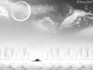 обои Одинокая хижина в снегу фото
