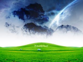 обои Зеленый мир и грозный космос фото