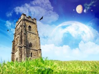 обои Одинокая башня,   окружённая воронами фото