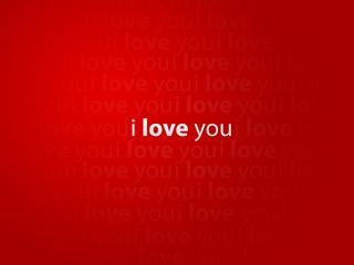 обои Надпись - Я тебя люблю, на красном фоне фото