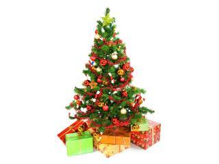 обои для рабочего стола: Новогодняя елка с подарками