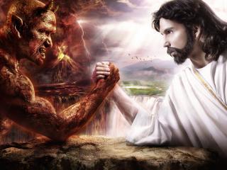 обои Армрестлинг Бога и Дьявола фото